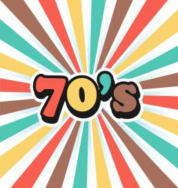 a graphic with a 70s style design
