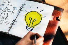 light bulb in a notebook