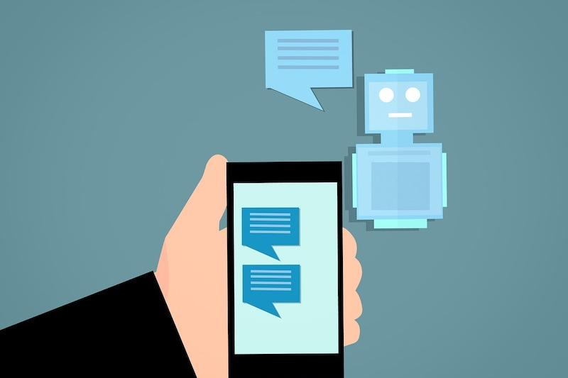 robot chatting with someone on a messenger app