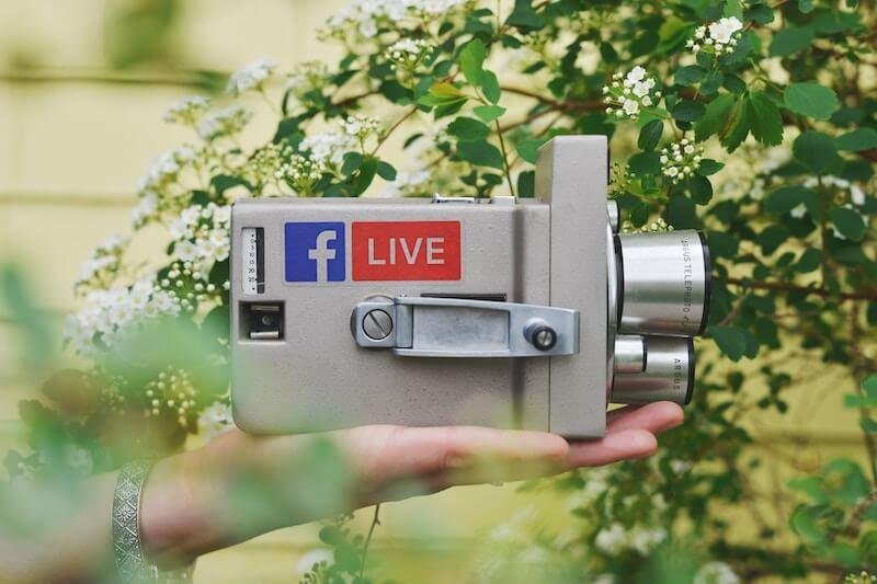 video camera with facebook live sticker