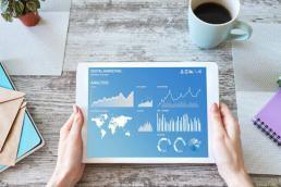 tablet showing digital marketing metrics