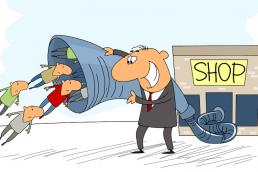 cartoon businessman sucking customers in to a funnel