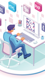 digital person coding a website